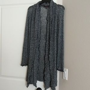 Black, gray, and white speckled duster cardigan